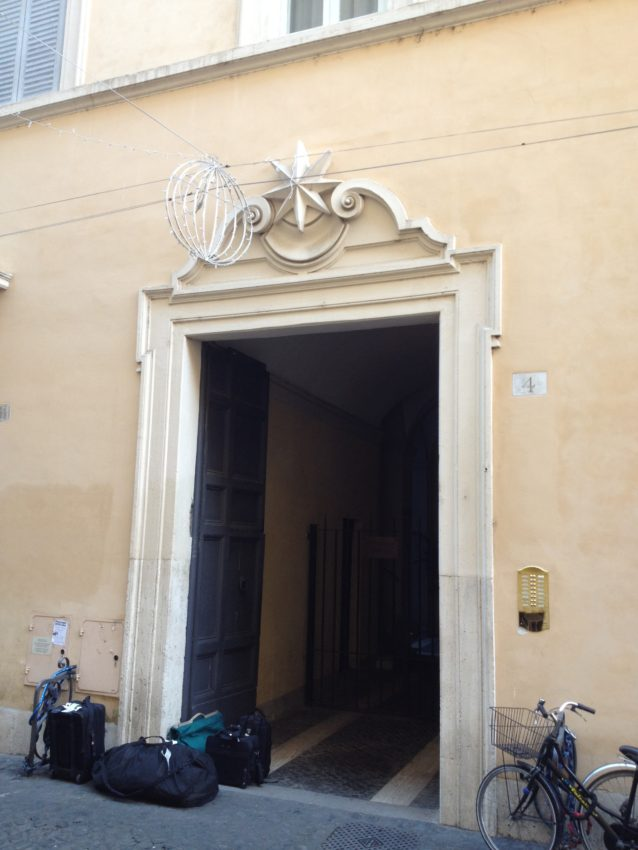 The outside of my 700-year-old building on Via di Montoro