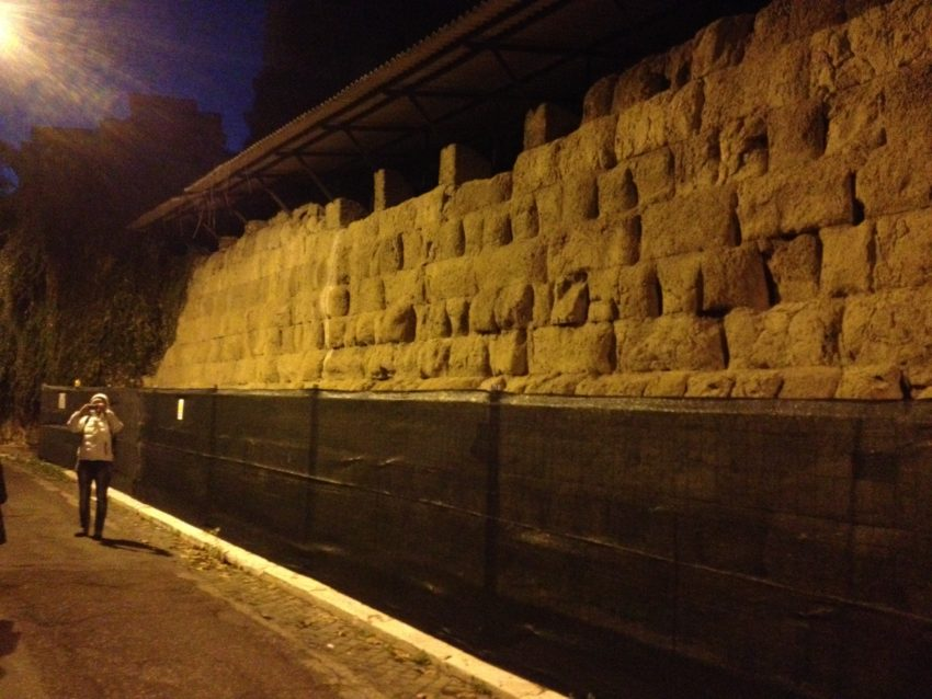 A piece of the original wall that surrounded Rome in the 4th century B.C.