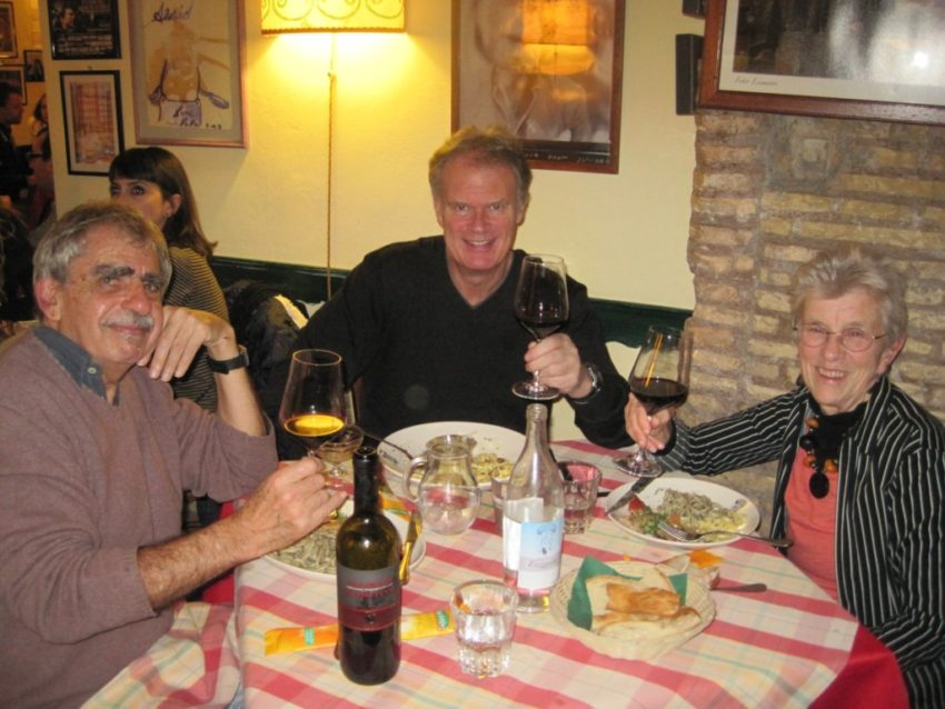 Peter Bloom, moi and Gretchen Bloom at La Taverna dei Fori Imperiali upon my return to Rome.