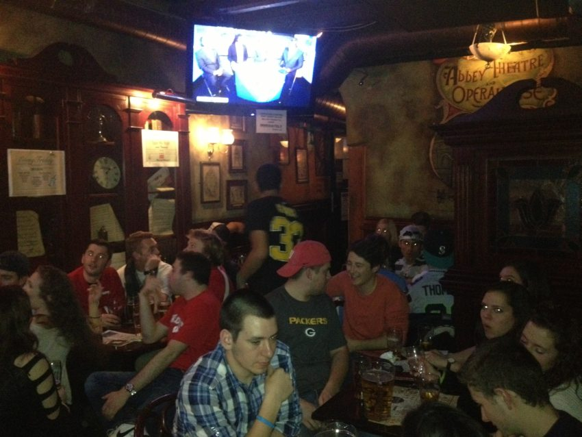 The scene in Abbey Theatre, one of Rome's many Irish pubs, the night, er, morning of the Super Bowl.
