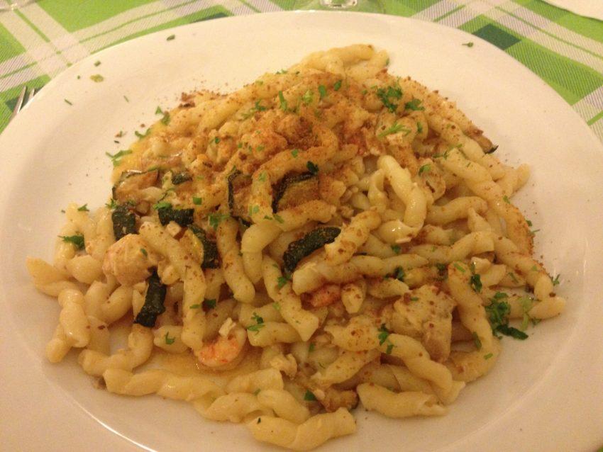 Busiati al Vicolo: Sicily's trademark busiati pasta with swordfish, shrimp, tuna and zucchini.