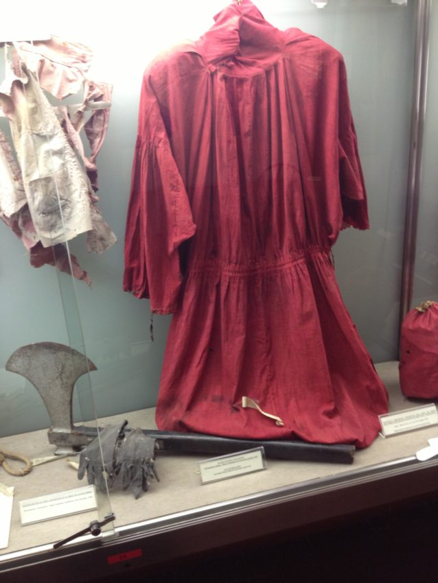 The cloak and ax used by executioner Massimino Titta who reported beheaded 516 people from 1796 to 1865.