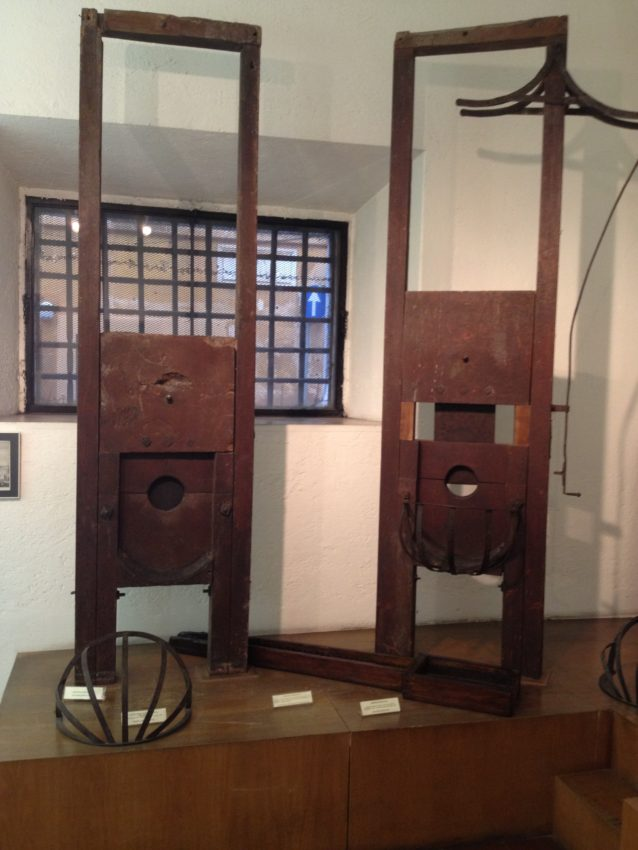 Two of the guillotines used after the French introduced it Rome during Napoleonic rule.
