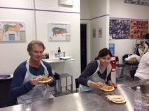 Me and Laura, the Rome Explorers Meetup organizer, braving our own cooking.