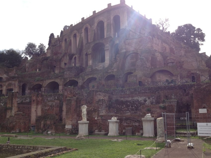 The remains of Nero's palace high atop Palatine Hill