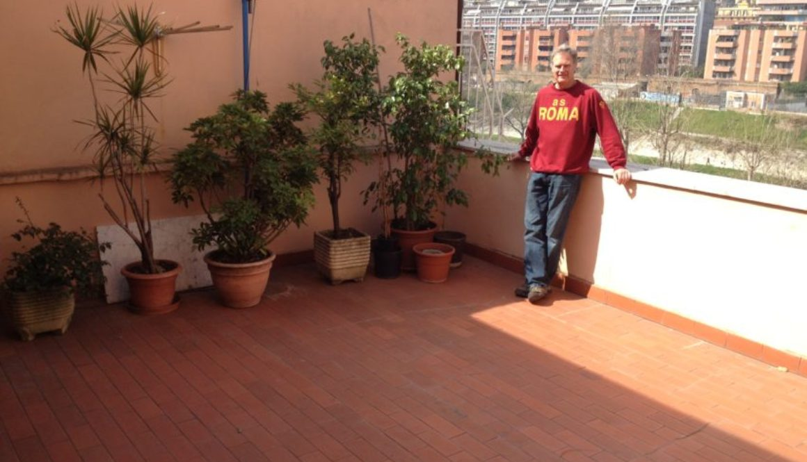 My 350-square-foot terrace overlooking the Tiber River. OK, so it