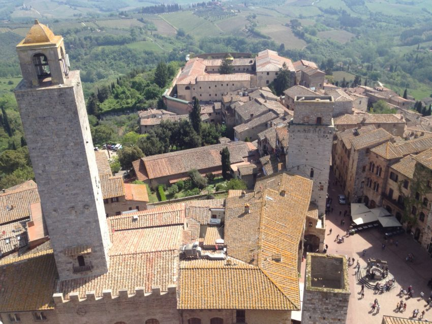 Aerial view of San Gimignano from one of its 15 towers built by residents during the prosperous medieval times.