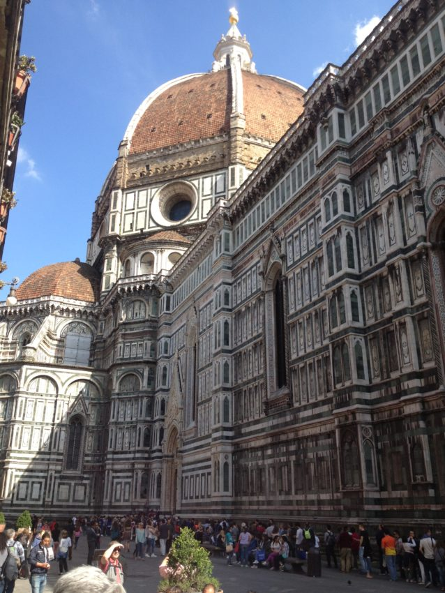 Florence's famed Duomo and one of the massive lines to get in.