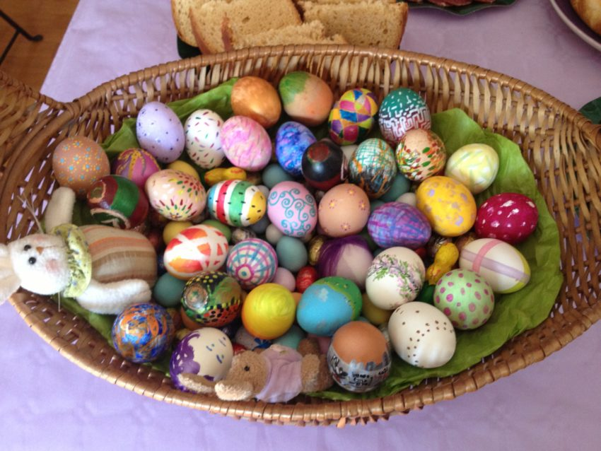 Easter eggs elaborately decorated by the Castellani children.