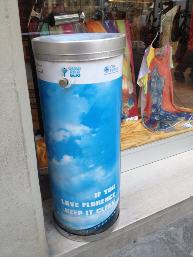 "Trash cans read, ""If you love Florence, keep it clean."""