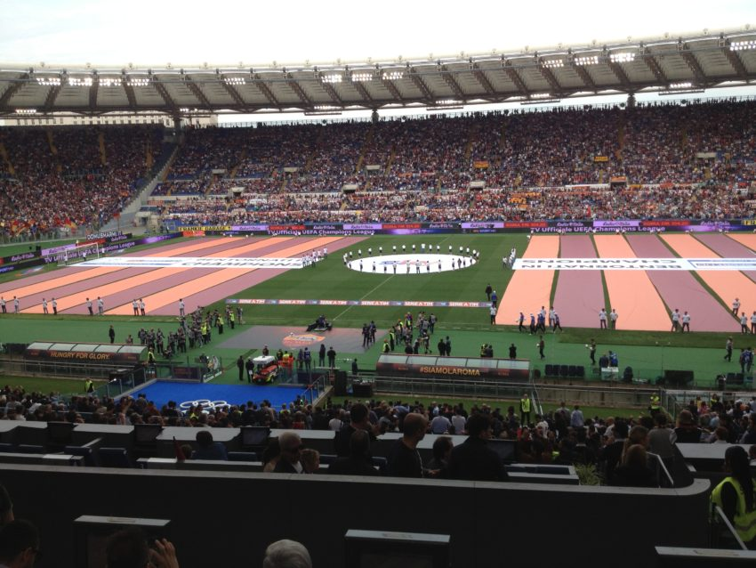 My view from the press area of Roma's last home game Sunday against league-champion Juventus. The banners congratulate Roma's second-place finish.