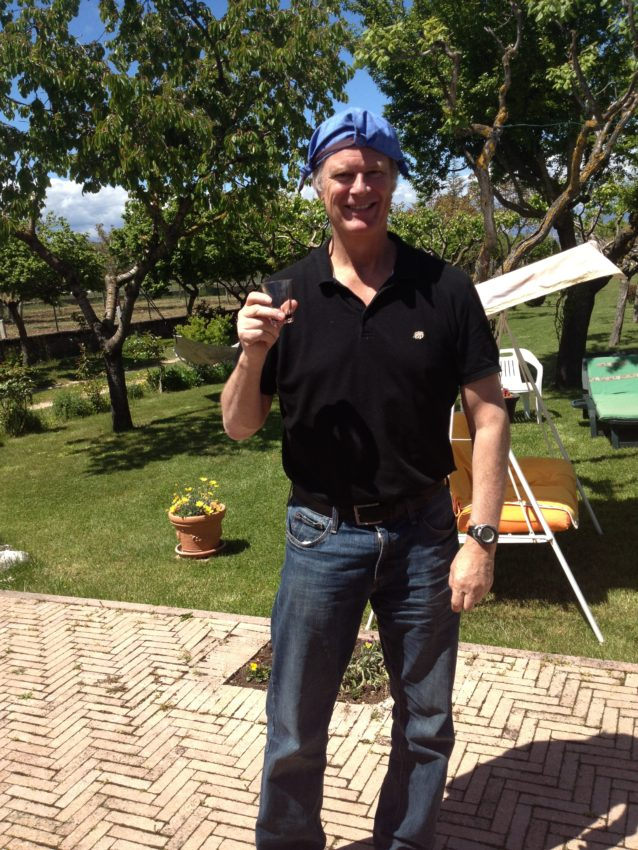 Me (sober believe it or not), wearing traditional Abruzzese farmers hat and holding traditional shot glass.