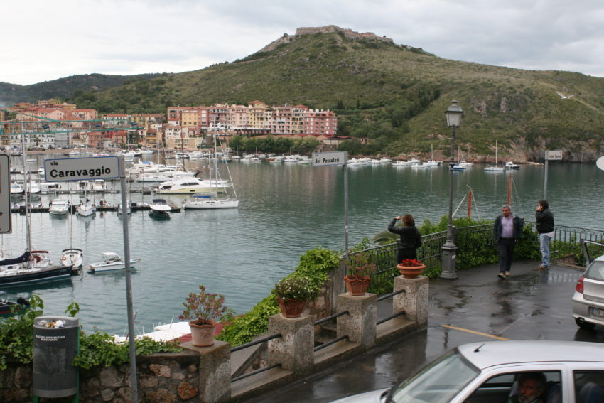 The town of Porto Ercole, on a little peninsula in the Tyrrhenian Sea, honored the Renaissance artist Caravaggio in the place where he died.