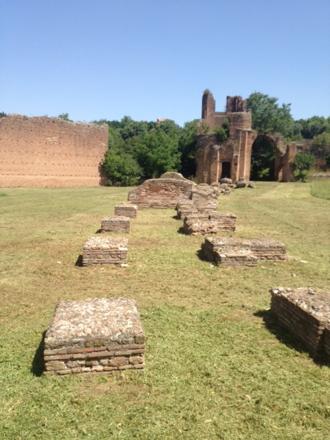 The starting blocks for the chariot races in Circus Maxentius, built in 311 AD along the Appia Antica, where 5,000 of Spartacus' rebelling slaves were crucified.