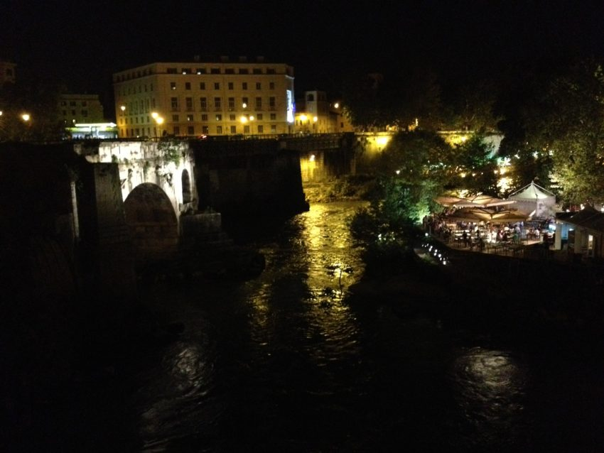 Concert on Isola Tiburina with Ponte Rotto, Rome's first stone bridge, to the left.