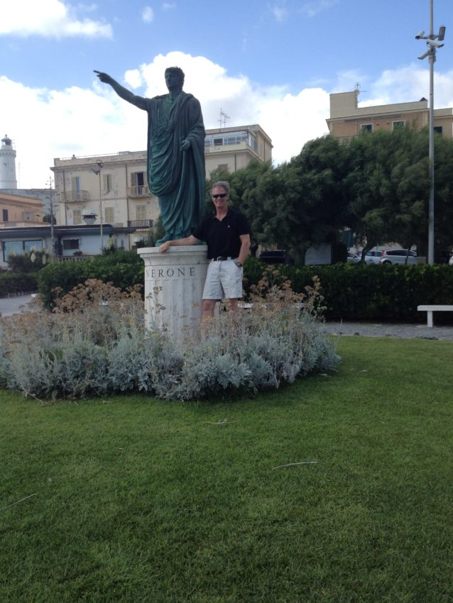 Me in Anzio next to the statue of Emperor Nero who was born in the port city.