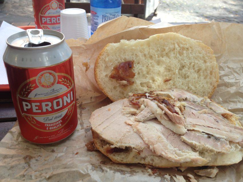 The porchetta sandwich, famous around Rome since the 15th century.