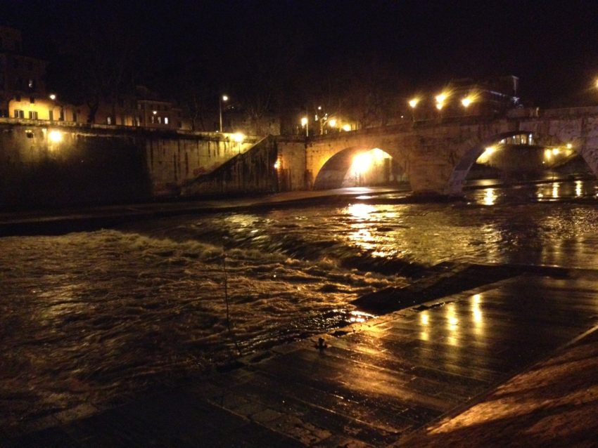 The Tiber and its rapids in winter.