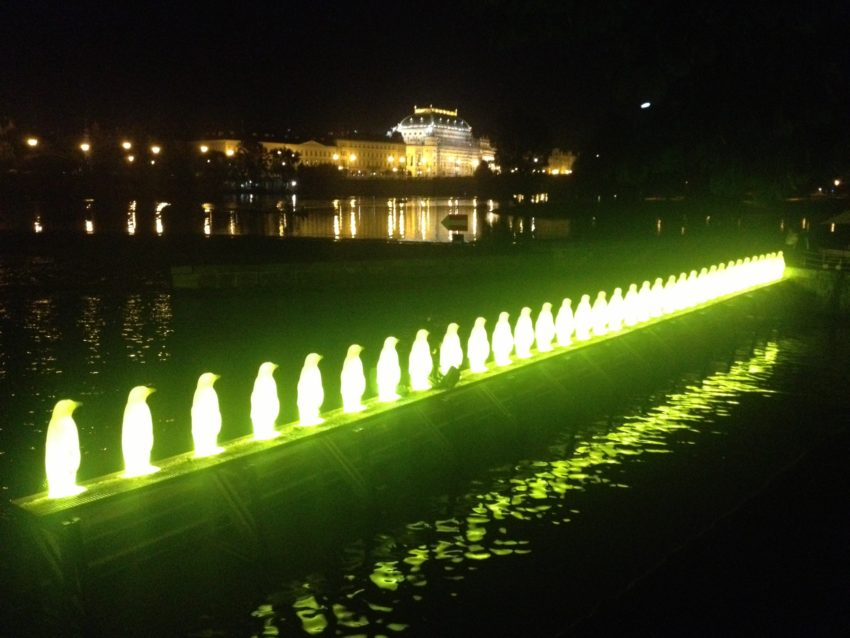 These lit penguins on the Vltava River are part of Prague's eclectic art scene.