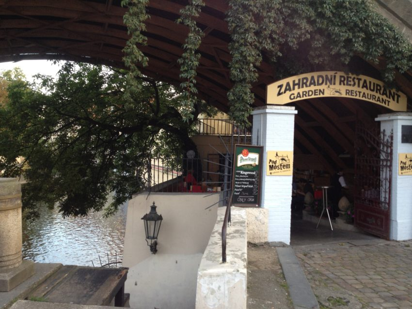One of the restaurant/beer gardens under the Charles Bridge.