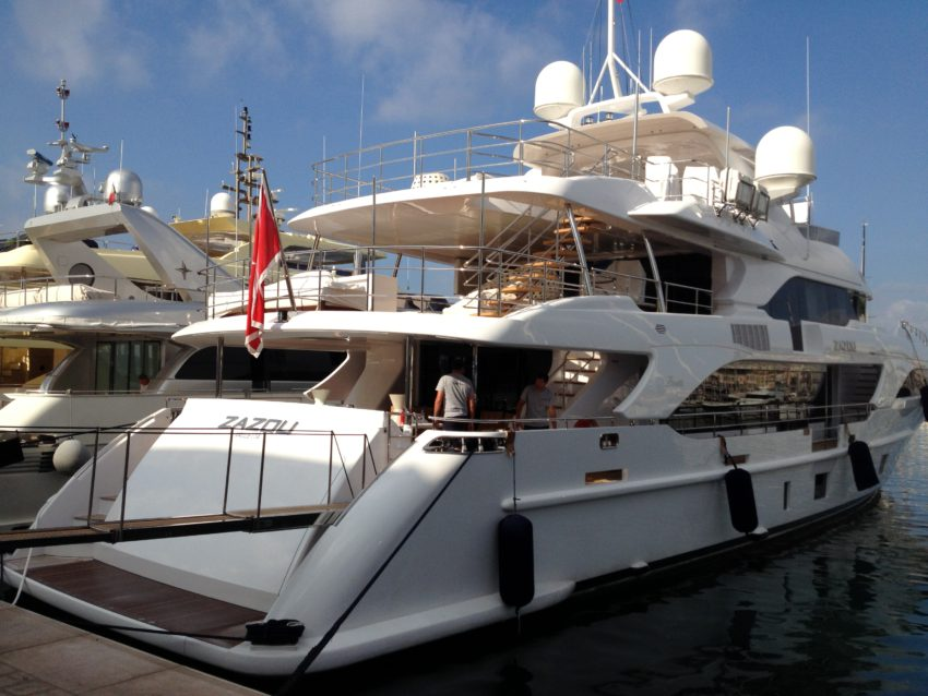 One of the many yachts in Cannes' harbor.