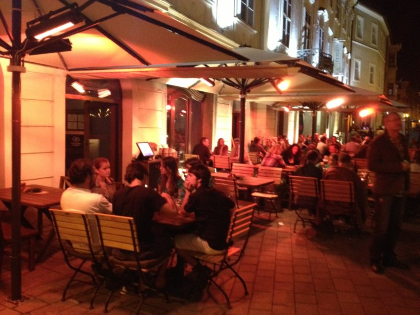 Bratislava's night life is full but subdued in Old Town.