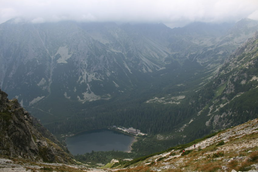 Popradske pleso from atop 1.2-mile-high Sedlo pod Ostrvou and where I'd spend the night after an eight-hour hike covering 11 miles.