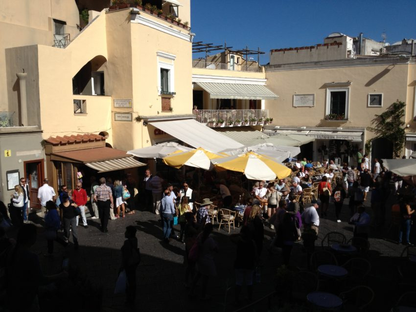Piazza Umberto I is the place to be seen on Capri.