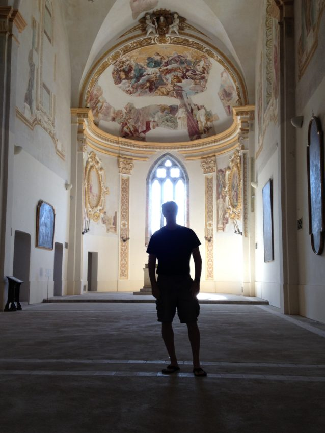 Me near the cupola in the  Certosa di San Giacomo, a 14th century monastery.