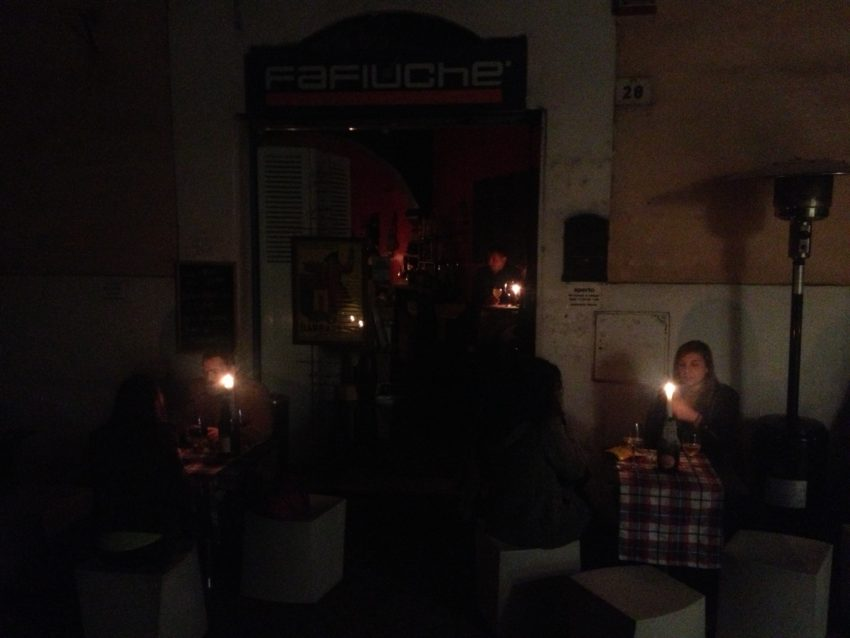Candles at Fafiuche' enoteca in the Blooms' Monti neighborhood.