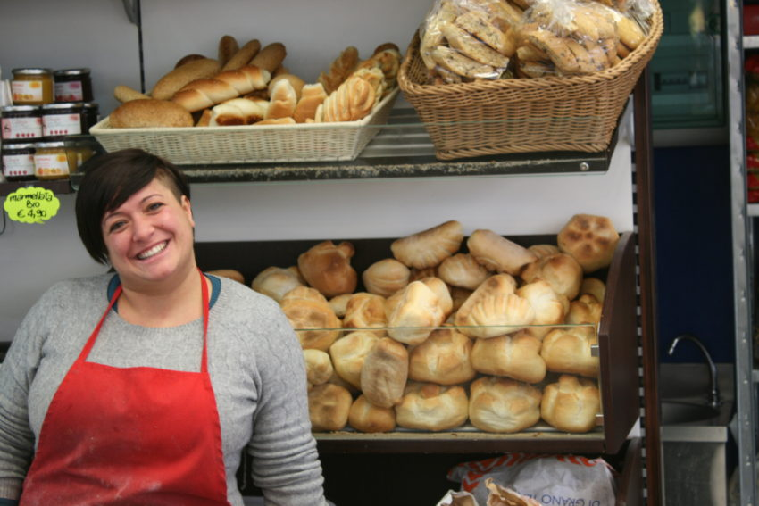 Alessandra and her plethora of fresh bread.