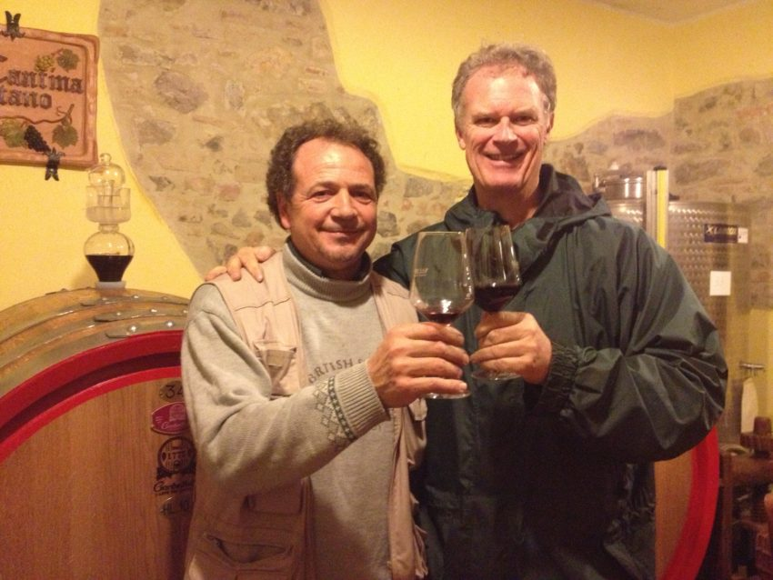 Winemaker Pietro Antano and me at his Terre dei Nappi cantina.