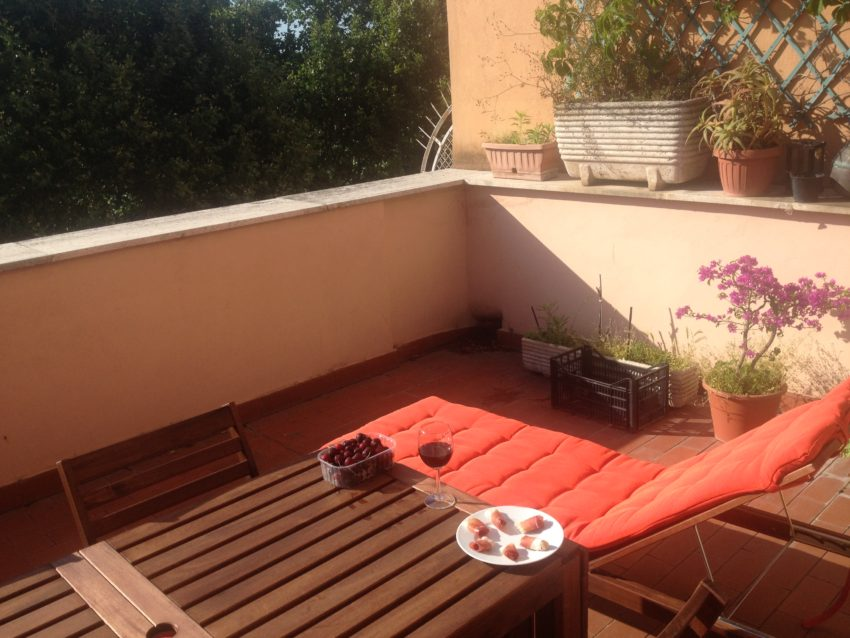 My 35-square-meter terrace is perfect for sunbathing with an aperitivo.