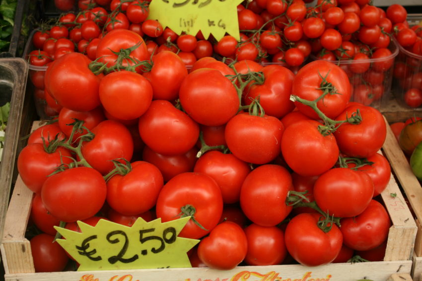 The tomatoes in my Mercato Testaccio are as sweet as apples.
