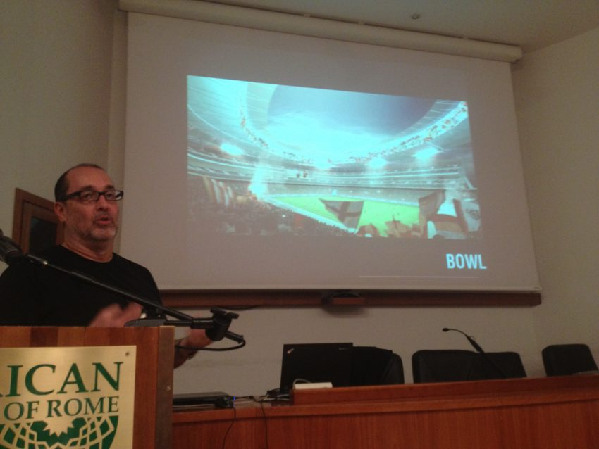 Architect Dan Meis explains to a packed crowd how he'll make Stadio della Roma a new destination in Rome.