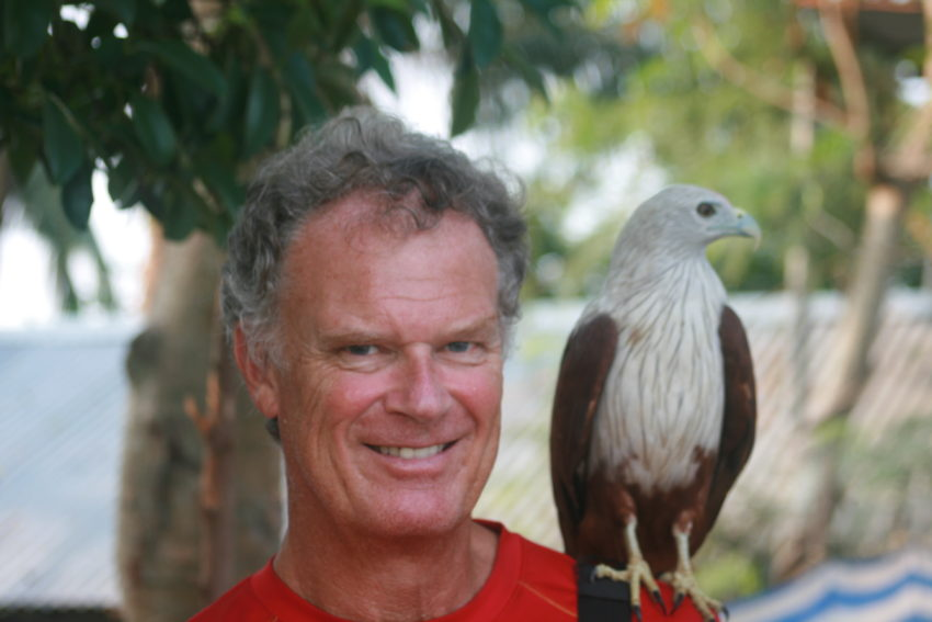 Me and the Backwaters café cook's pet white eagle.