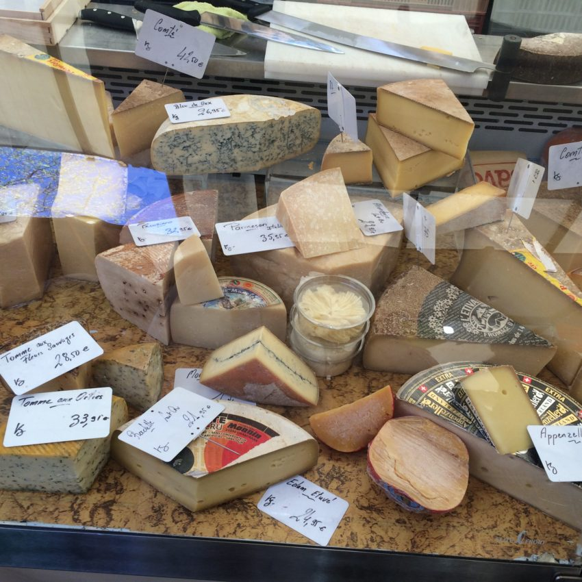 Cheese stall at the Latin Quarter's public market.