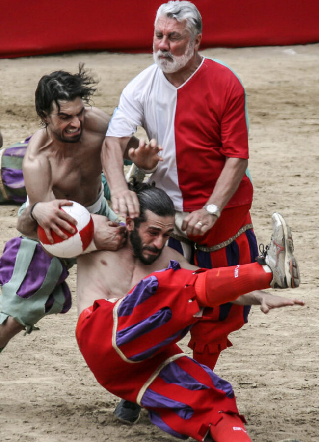 Calcio Storico Fiorentino started 500 years ago to show Emperor Charles V of Spain they weren't afraid of his invading army.