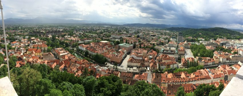 A panoramic view of Ljubljana, Slovenia, from Castle Hill where the first inhabitants came in the 13th century B.C.