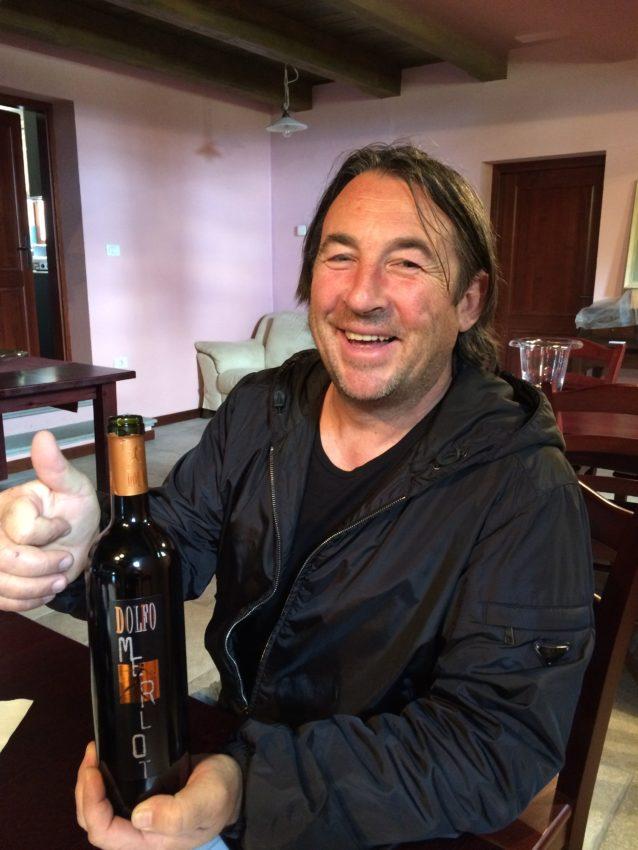 Marko Skocaj, owner of Dolfo winery, shows off the best Merlot I've ever tasted.