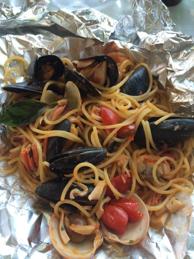 L'Ancora's seafood spaghetti special.