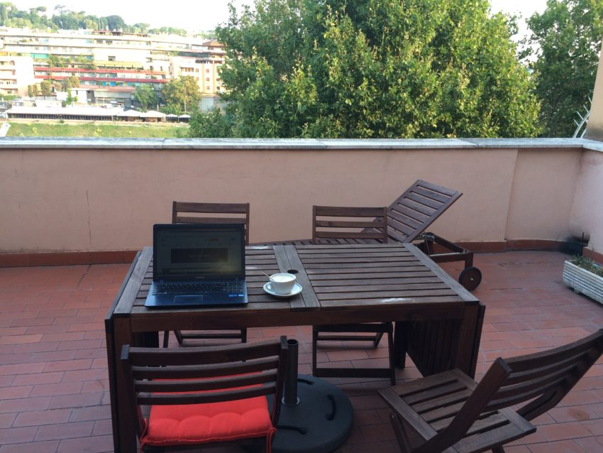 My terrace is 35 square meters, as big as some apartments in Rome.