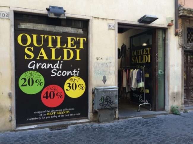 Italy has sales every summer and winter with prices up to 50 percent off.