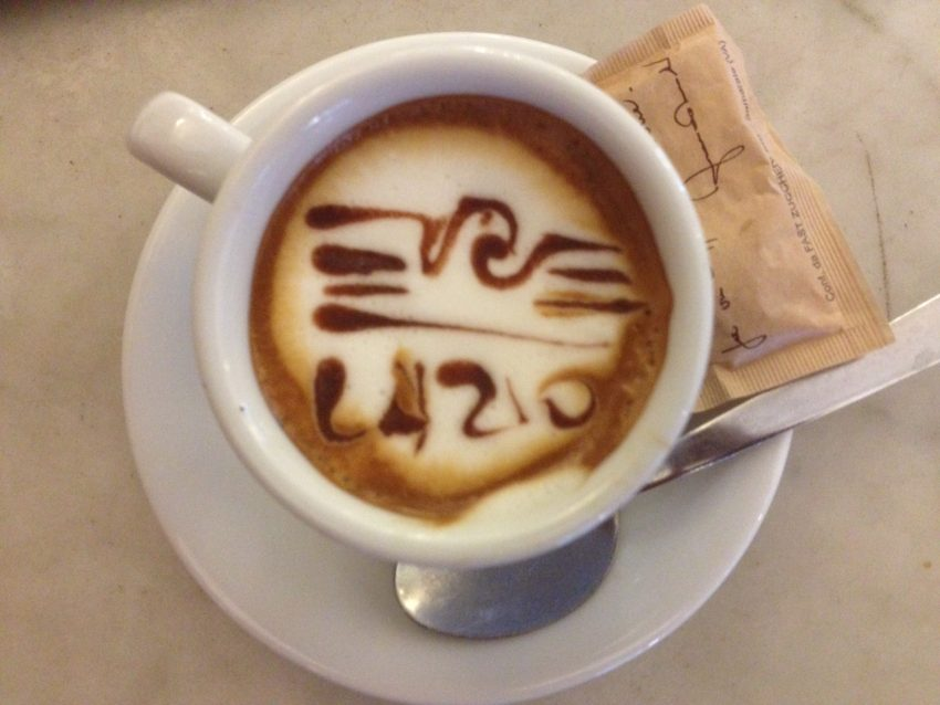 This is the design a Lazio fan/barrista put in my cappucino one day. Lazio is my beloved A.S. Roma's cross-town soccer rival.