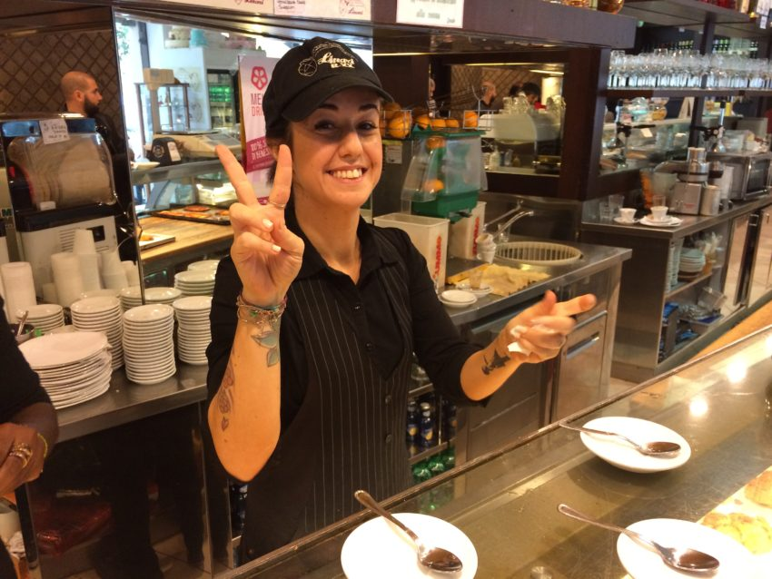 Claudia, one of the many friendly barristas at Linari.