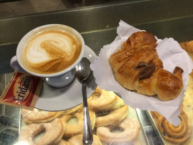 How I start my day: a cappuccino and perfect chocolate cornetto at Linari, my neighborhood cafe.