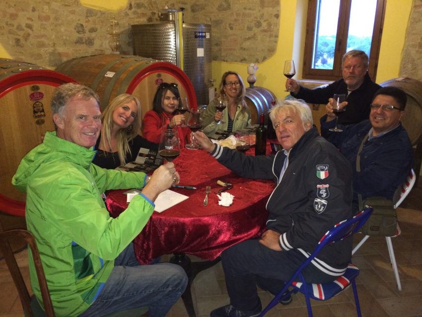 The Gang of Seven at Terre dei Nappi winery in Bevagna.  From left, going around the table, me, Pam Carpentier, Sabrina Crawford, Lisa Chambers, Errol Zahnow, Robert Della Vedova, Alessandro Castellani.