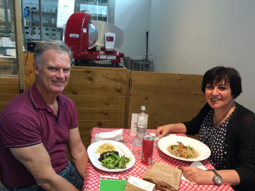 At Eataly with Maria Angela, one of an estimated 50 (language) scambio partners I've had over the years.