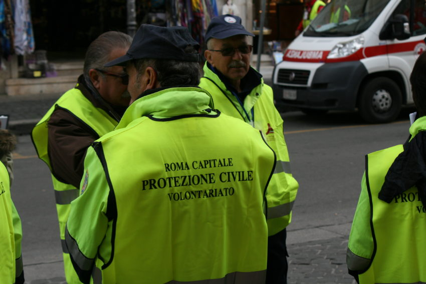 Volunteers for the Protezione Civile were all over St. Peter's.