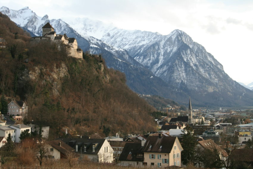 The view of Vaduz Castle over the tiny Liechtenstein capital of Vaduz (Pop. 5,300).